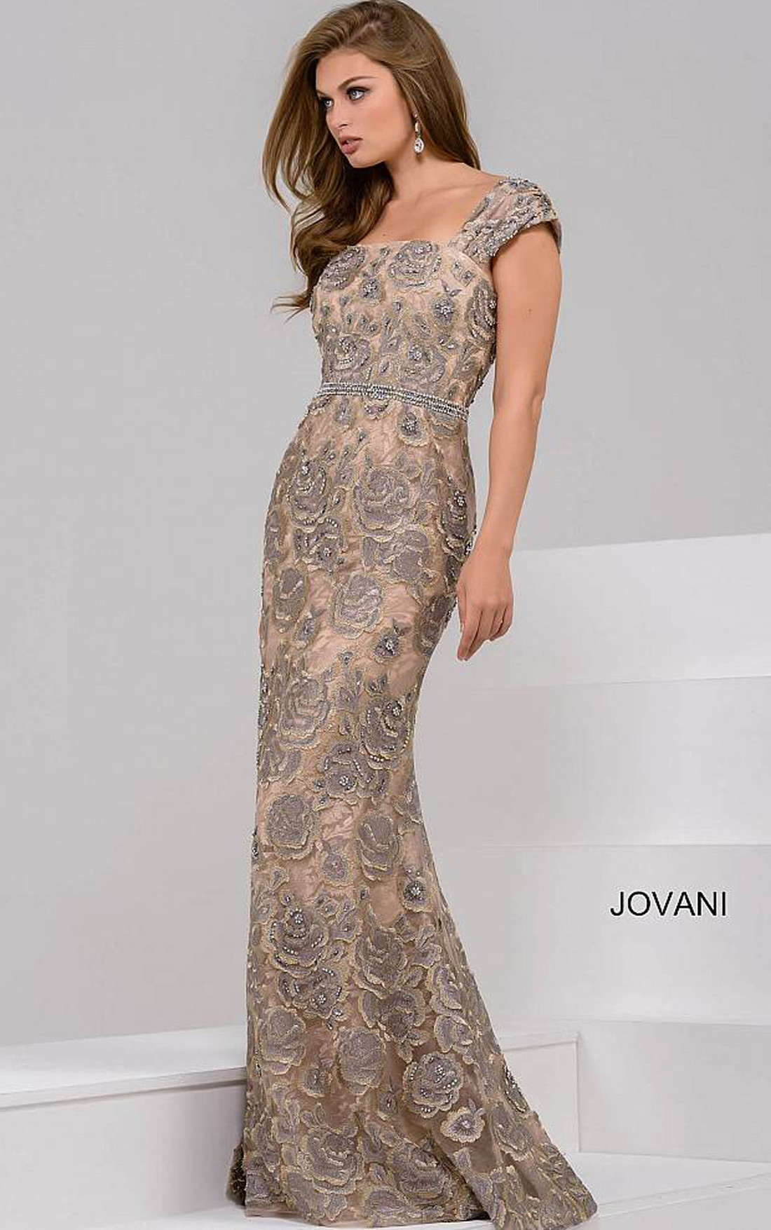 Jovani - Grey Beaded Lace Floral Fitted Dress (48121)