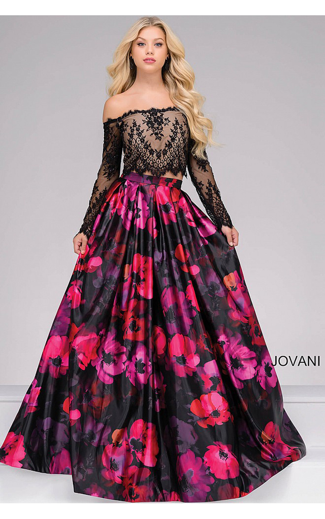 Jovani - Black and Multi Floral Print Two-Piece Long sleeve Ballgown (48690)
