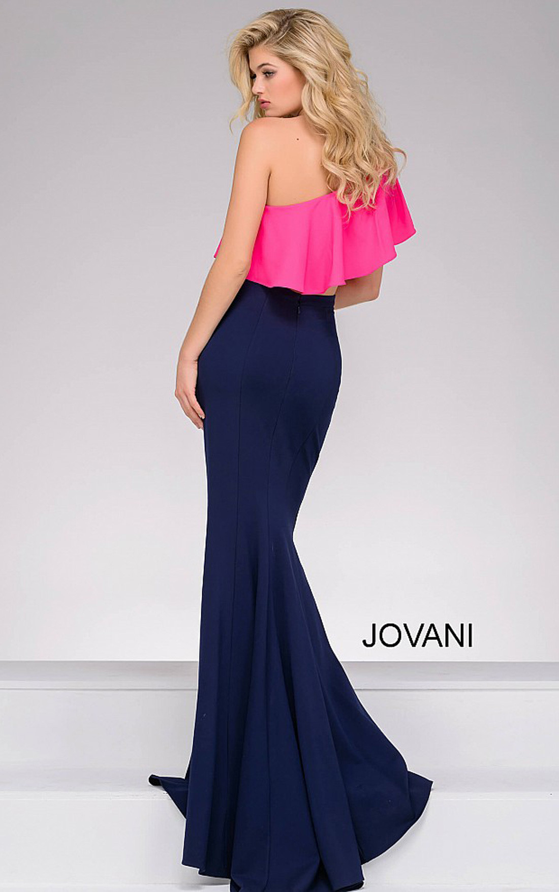 Jovani - Navy and Fuchsia One Shoulder Two-Piece Dress (49532)