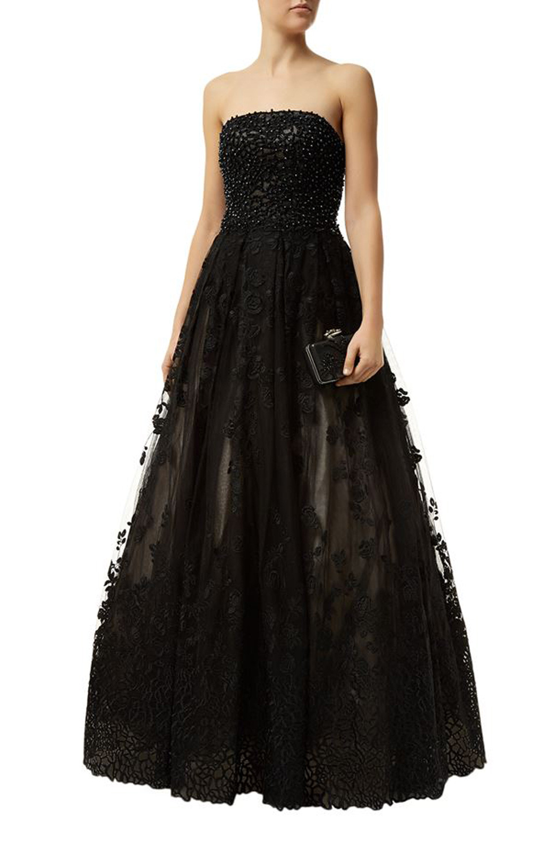 Jovani - Black Strapless Applique Dress with Embellishments (50290)