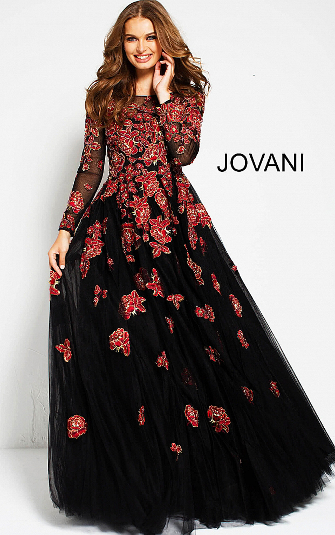 Jovani - Black Gown with Red Floral Embroidery (53088)