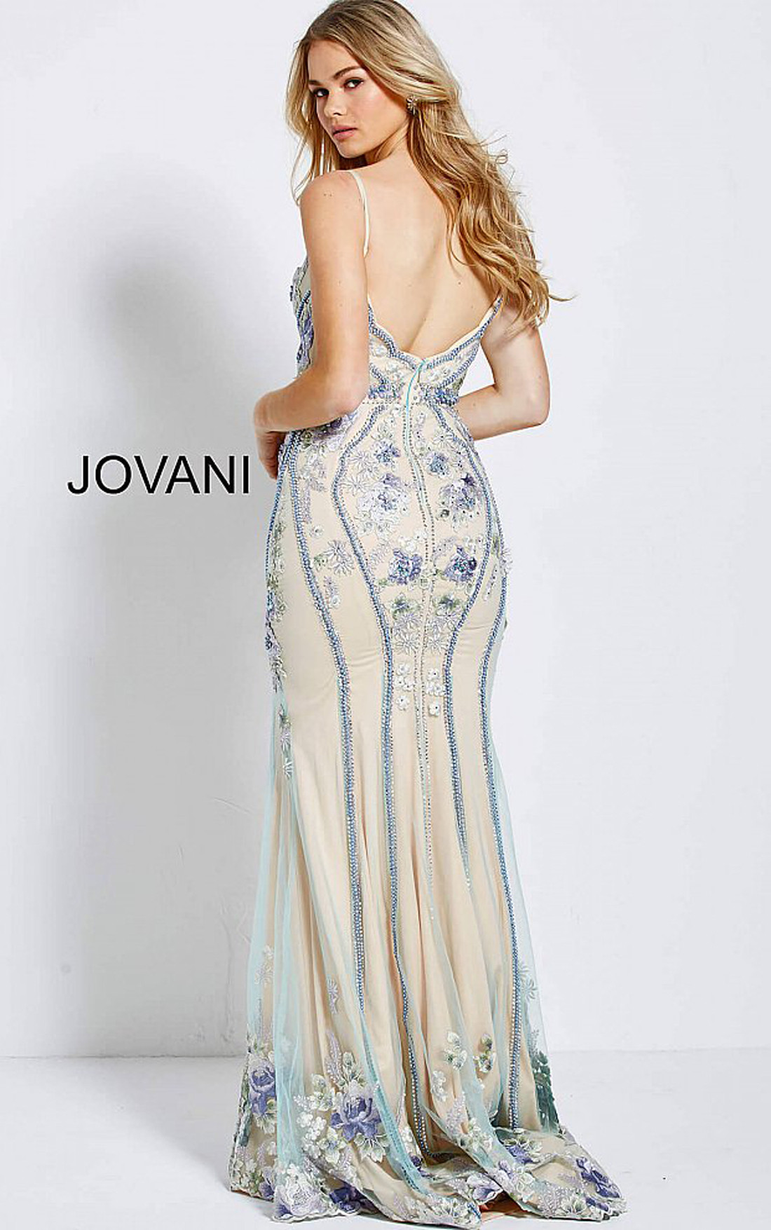 Jovani - Blush Floral Embellished Spaghetti Straps Dress (55816)