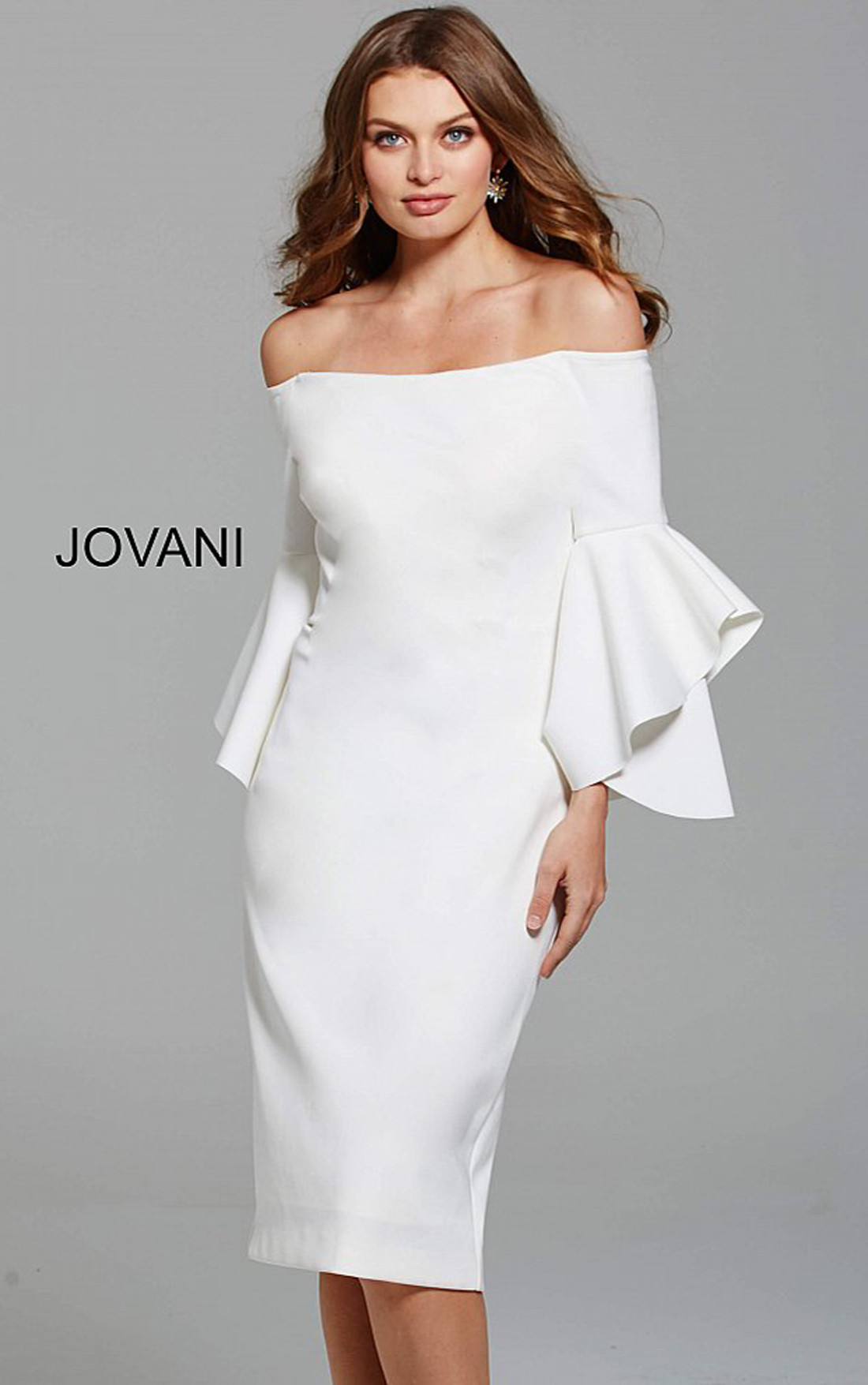 Jovani - White Off the Shoulder Short Dress with Ruffle Bell Sleeves (57064)