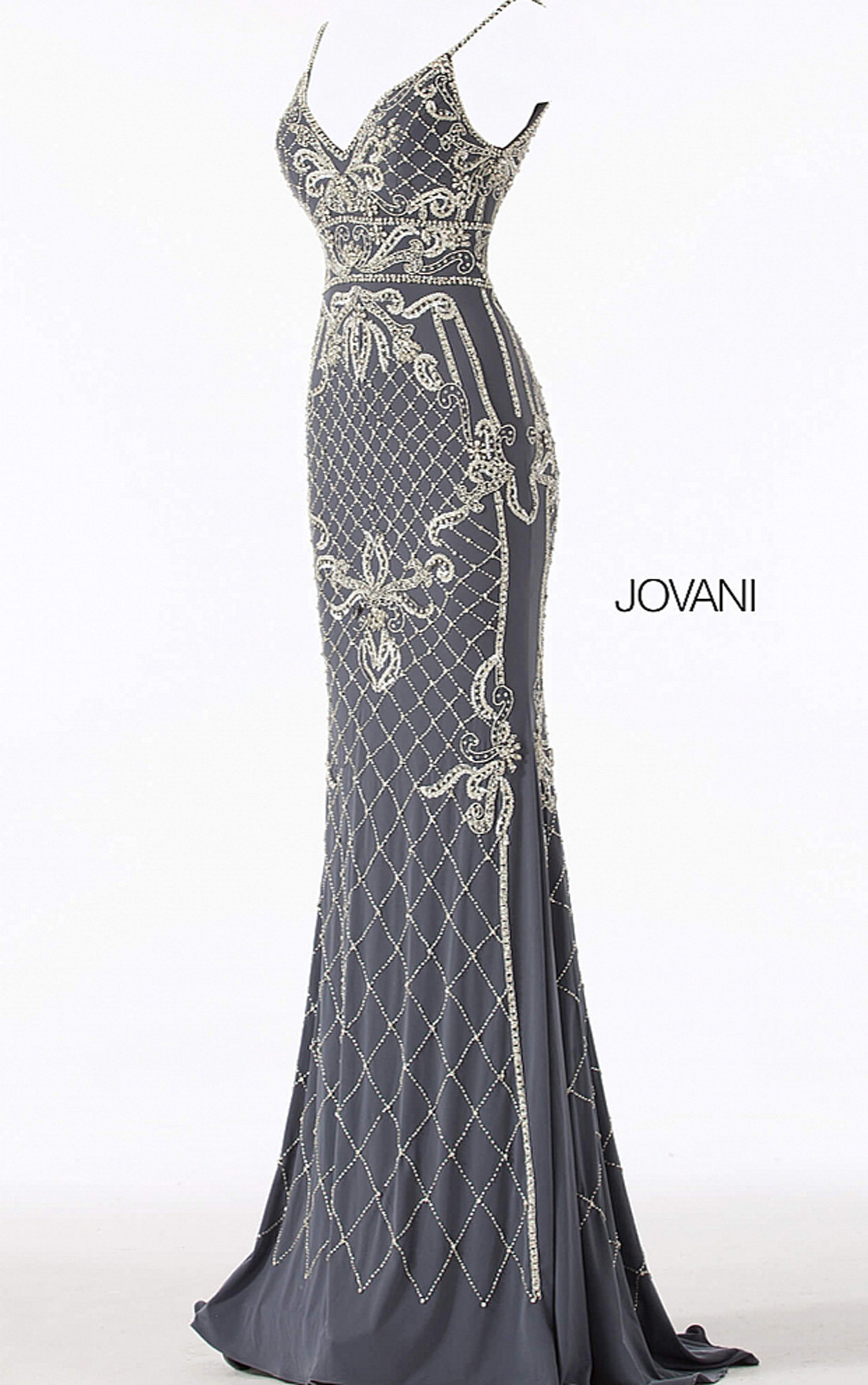 Jovani - Gunmetal Silver Embellished V Neck Fitted Dress (57612)