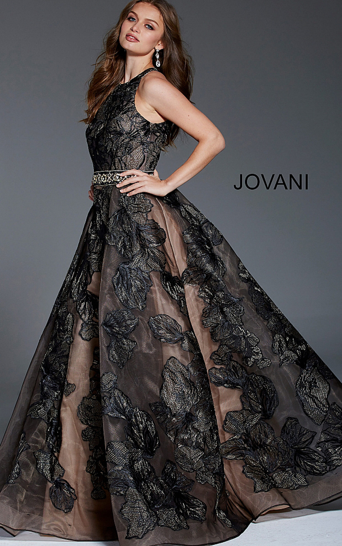 Jovani - Black Floral Sleeveless A-Line Gown (58914)