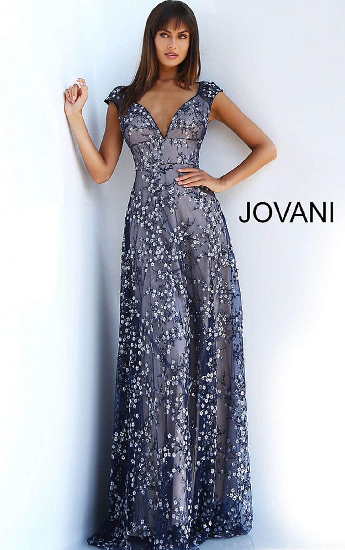 Jovani - Navy Floral Embellished Dress (59597)
