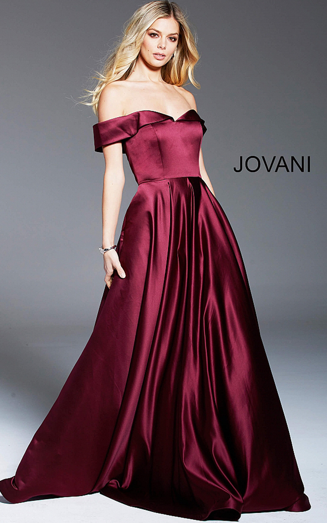Jovani - Wine Off the Shoulder Pleated A Line Satin Formal Gown (59665)
