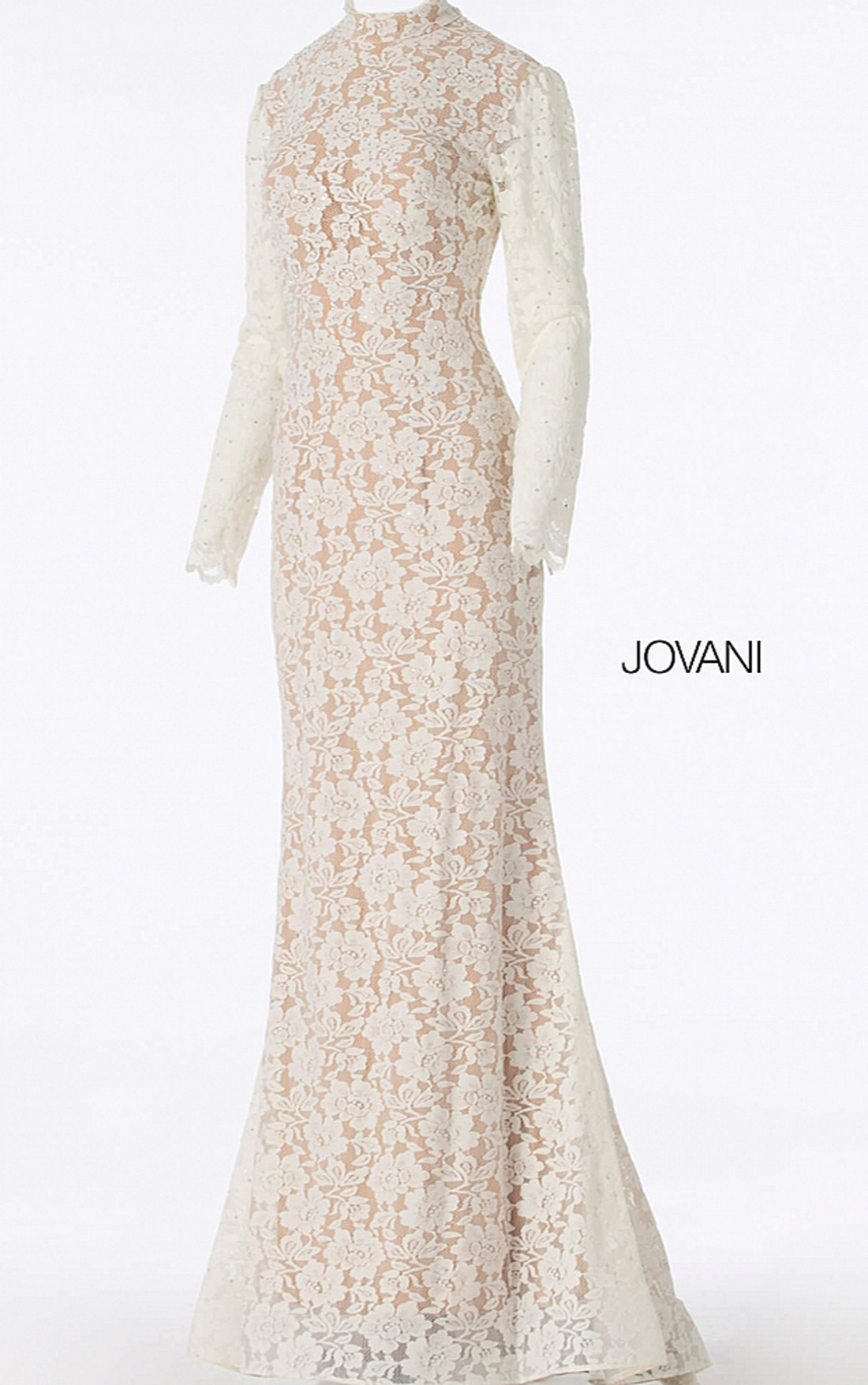 Jovani - Off White Nude Long Sleeve Lace Bridal Dress (63209)