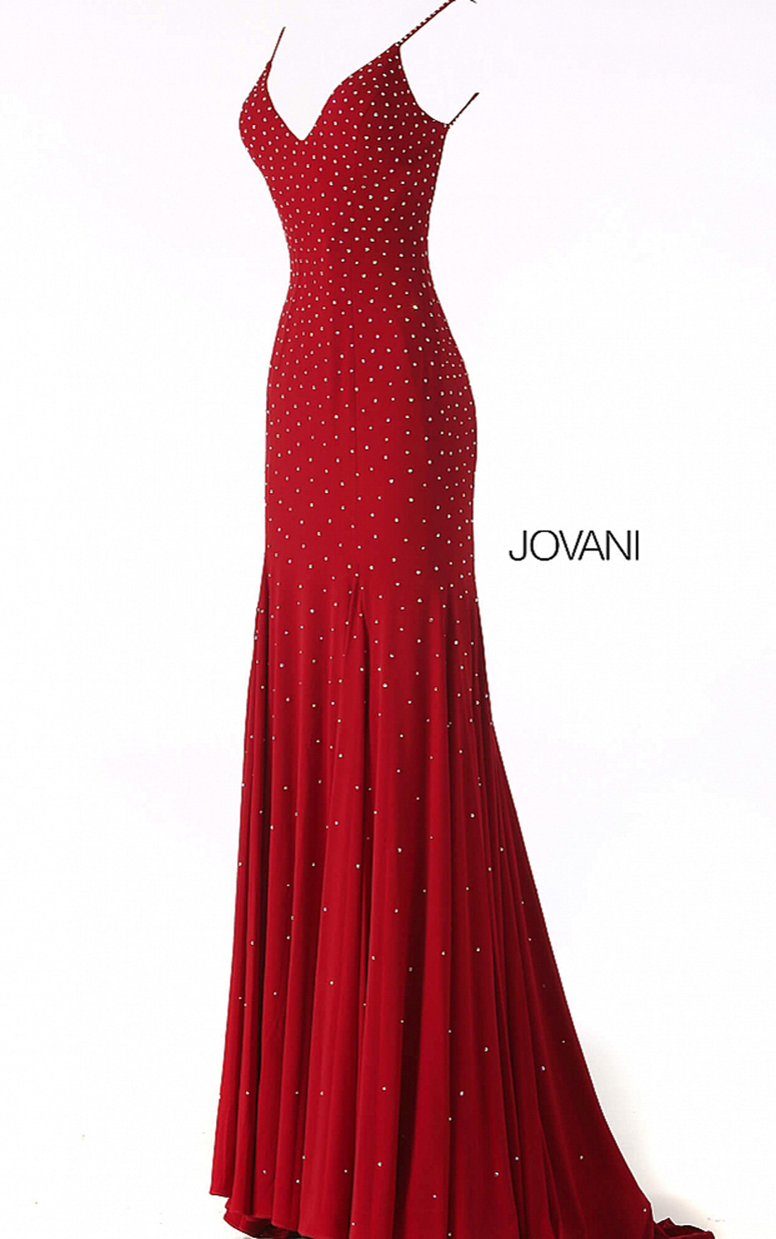 Jovani - Red Backless Embellished Jersey Dress (63563)