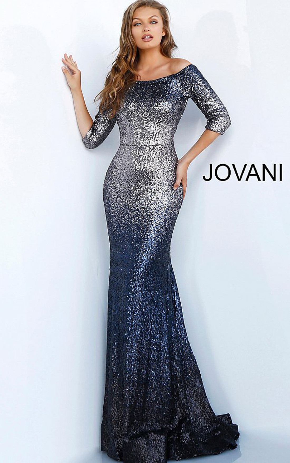 Jovani - Charcoal Sequinned Embellished Three Quarter Sleeve Dress (63707)