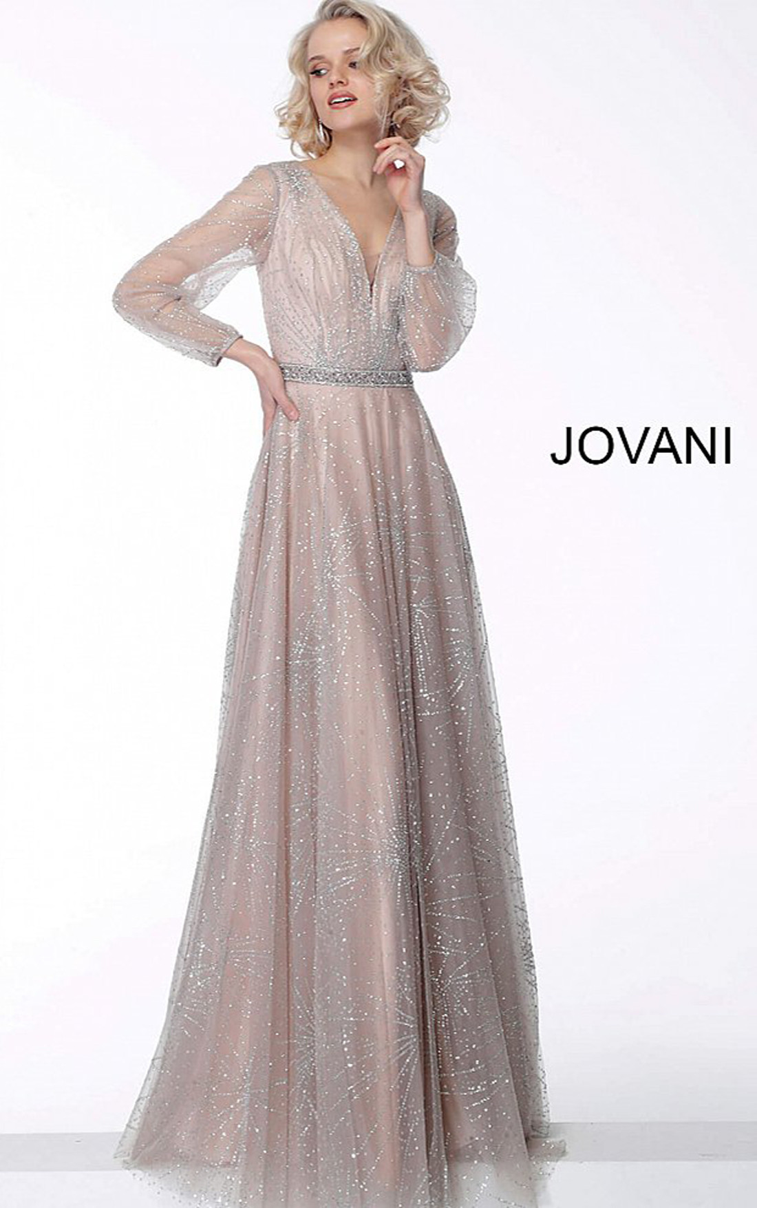 Jovani - Nude Glitter Long Sleeve Evening Dress (65658)