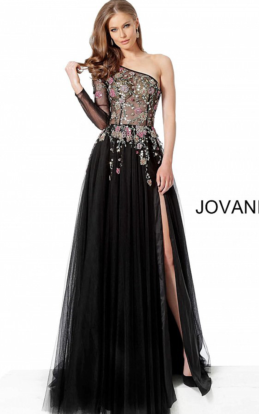 Jovani - Black One Shoulder Embellished High Slit Gown (66344)