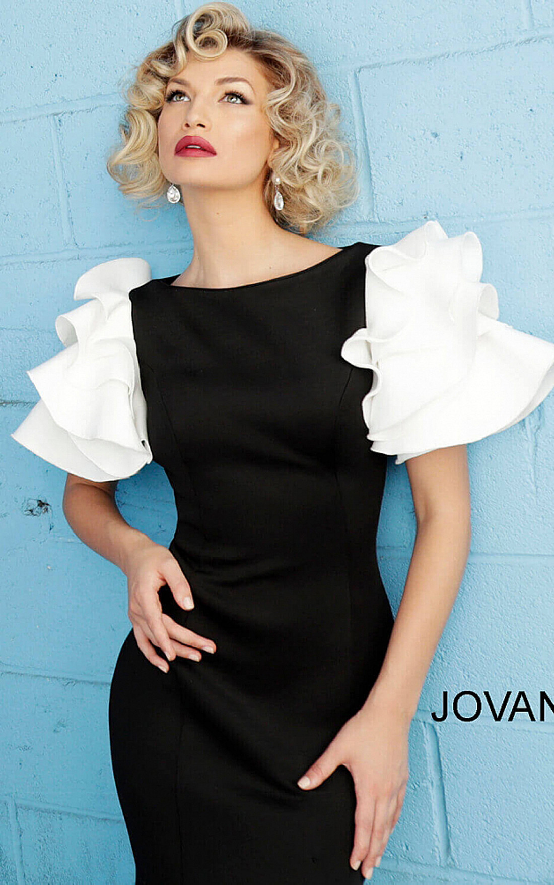 Jovani - Black and White Ruffle Short Sleeve Evening Gown (67119)