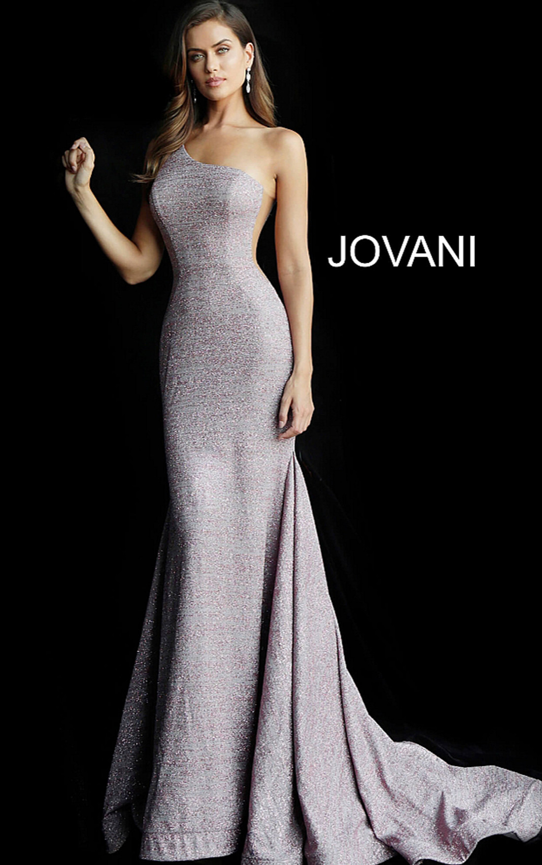 Jovani - Mauve One Shoulder Sleeveless Glitter Dress (67650)