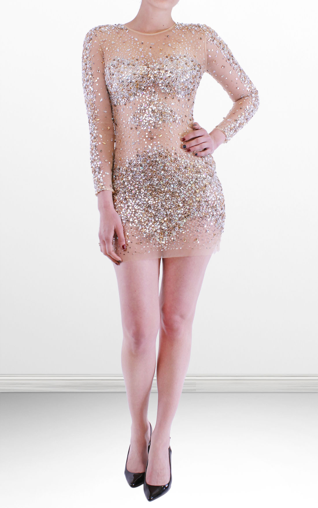 Jovani - Sheer Stone Embellished Nude Short Dress (7757)