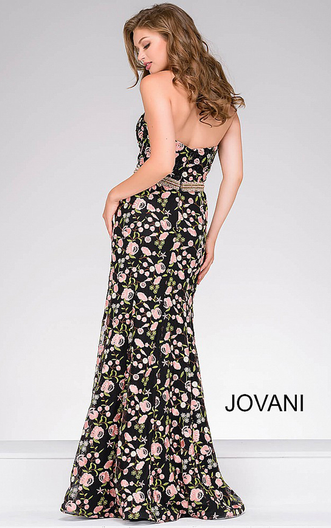 Jovani - Black Floral Embroidery Strapless Dress (47739)