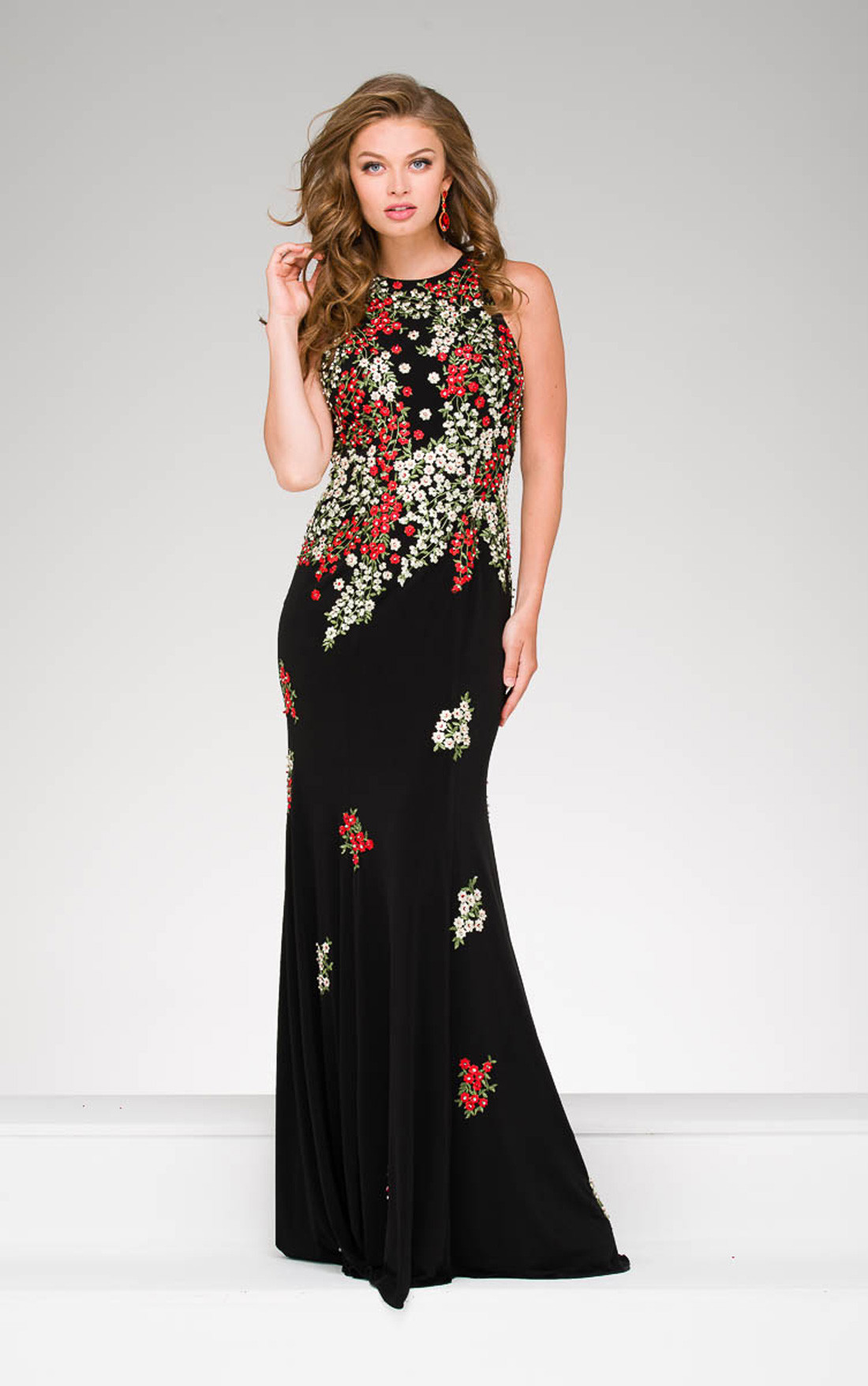 Jovani - Black Floral Halter Neck Dress (48104)