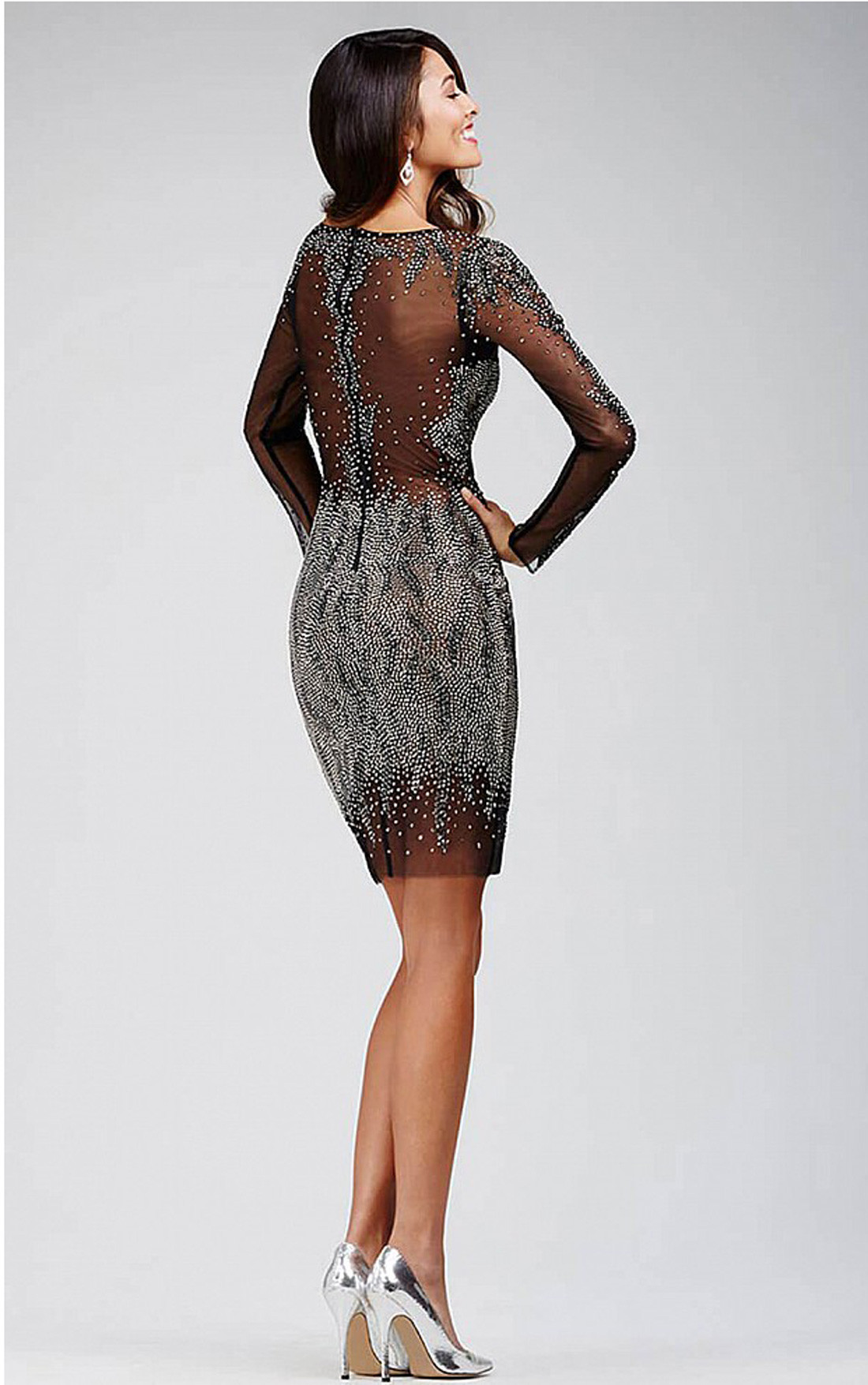 Jovani - Black Sheer Dress with Crystal Embellishments (28610)