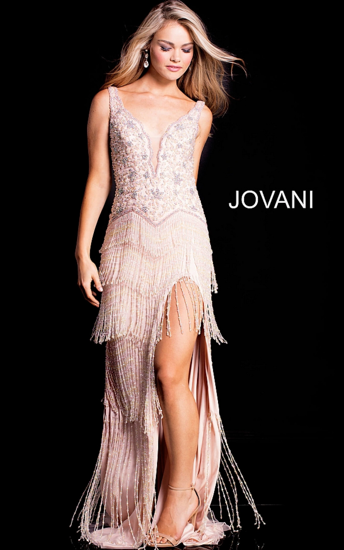 Jovani - Blush Embellished Sleeveless Dress (49833)
