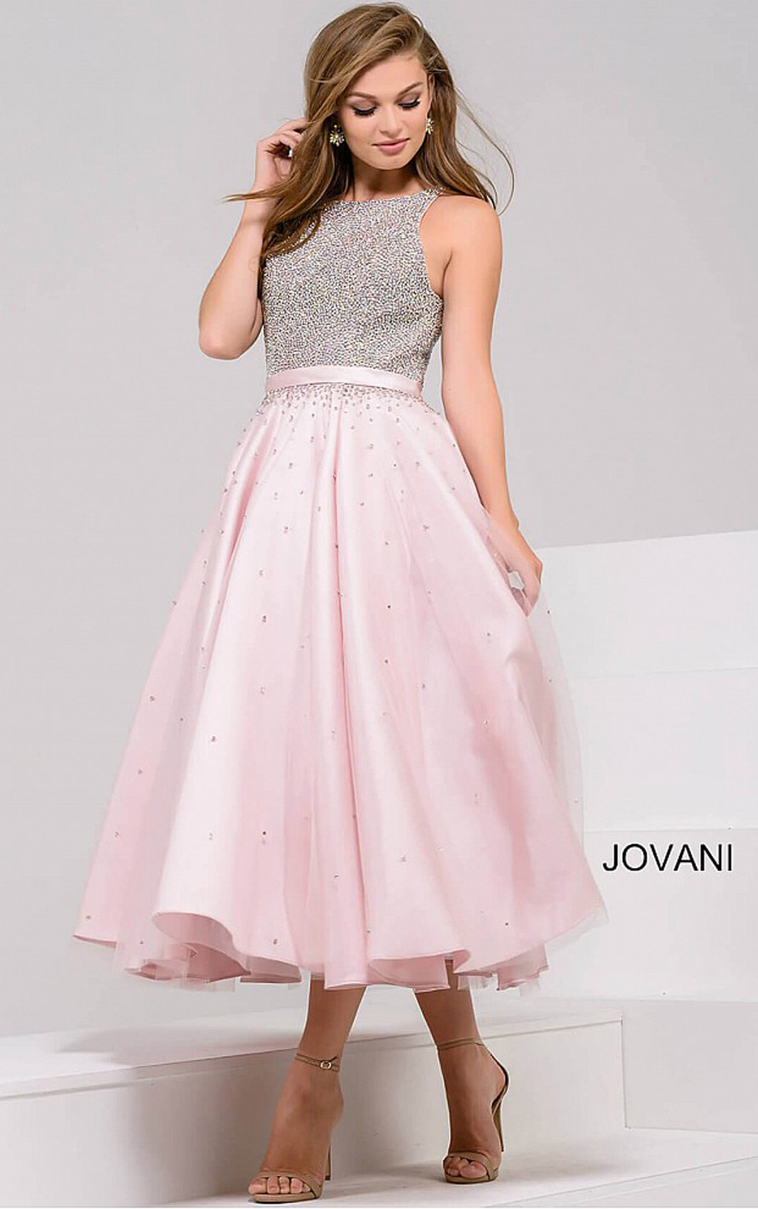 Jovani Dresses Womens Blush Pink Tea Length A Line Dress