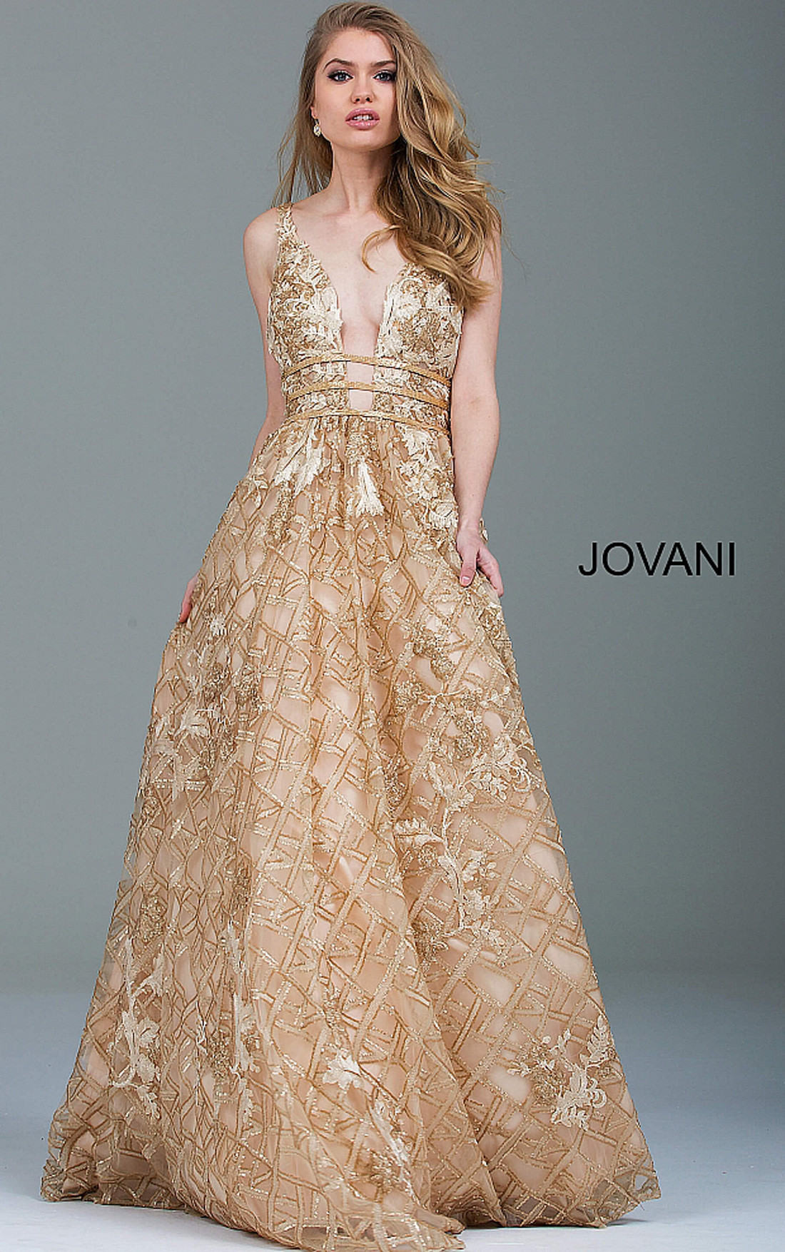 jovani dresses womens gold embellished backless evening