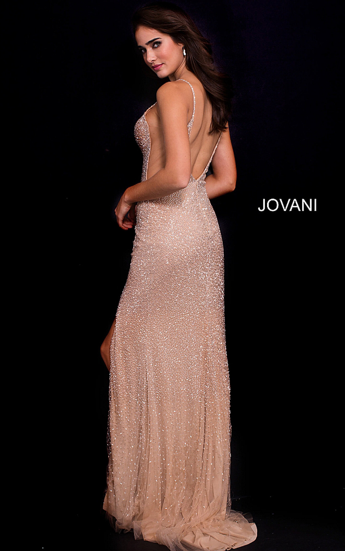 Jovani - Nude Beaded Backless Spaghetti Straps Dress (58506)