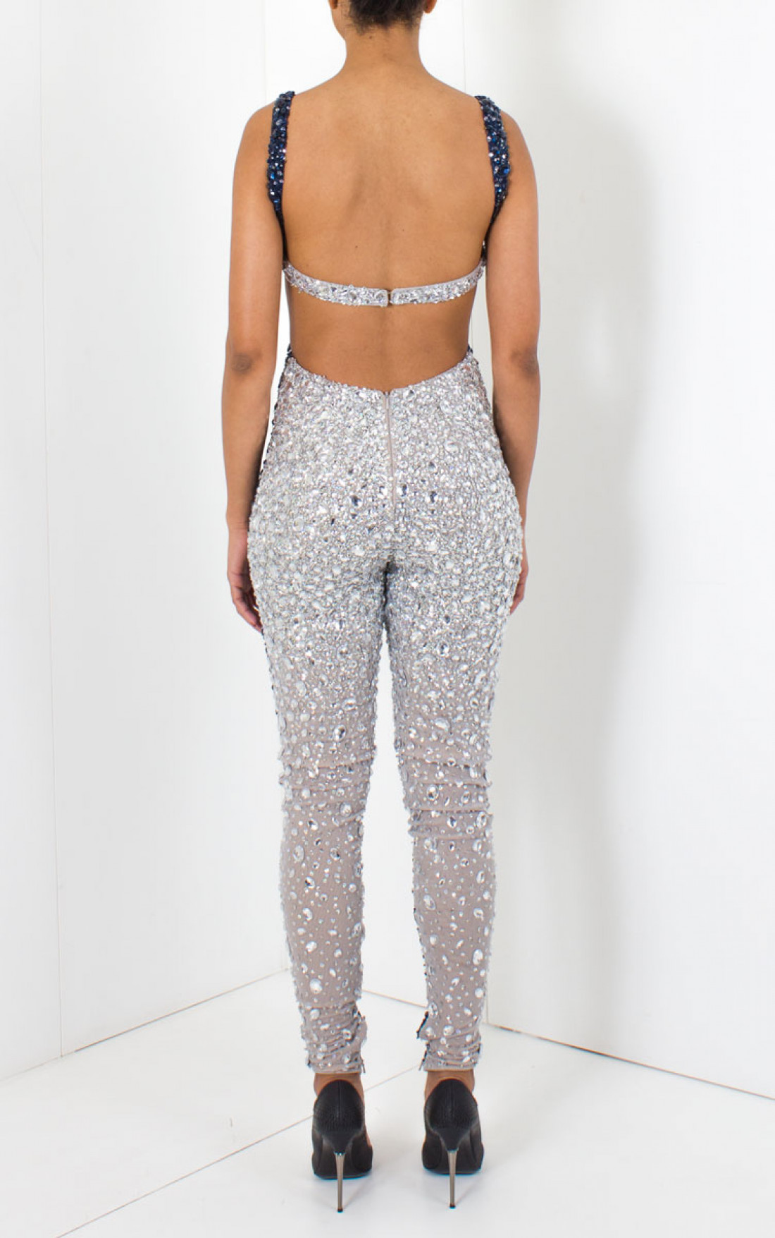 Jovani Dresses Womens Navy And Silver Sequin Jumpsuit