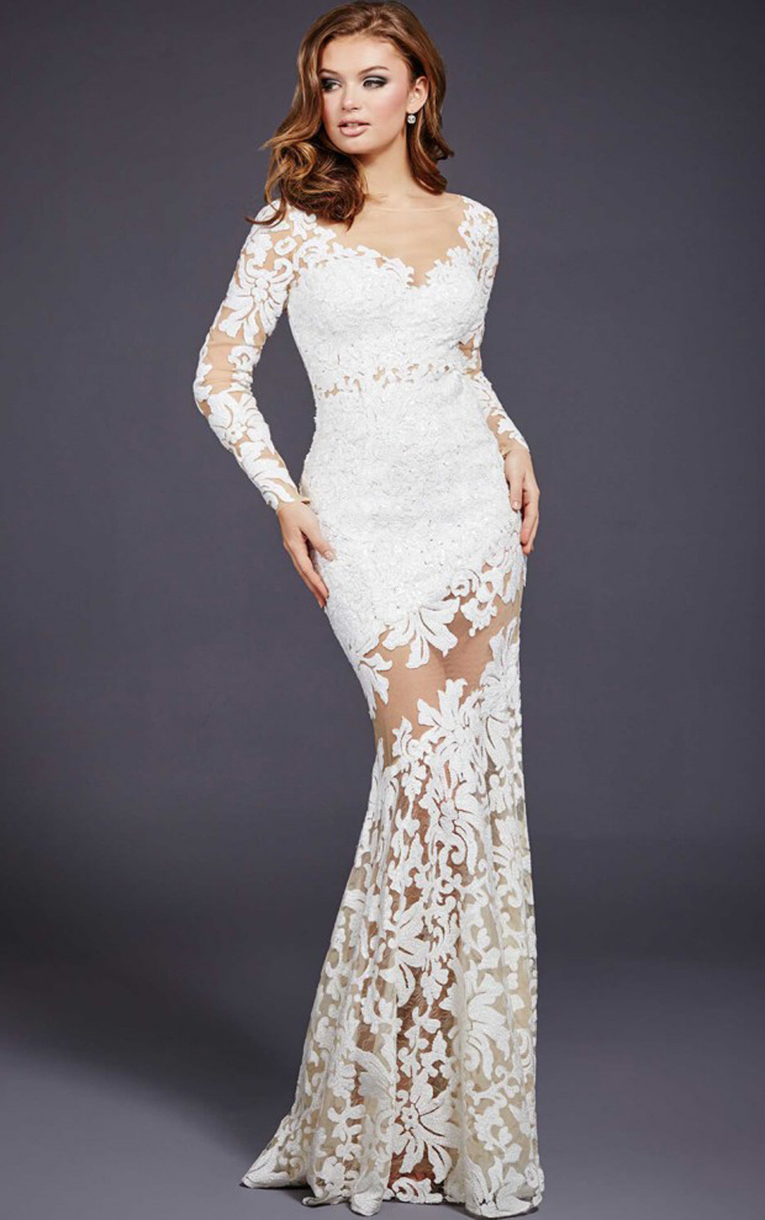 Jovani Dresses | Womens White Long Sleeve Lace Sequinned ...