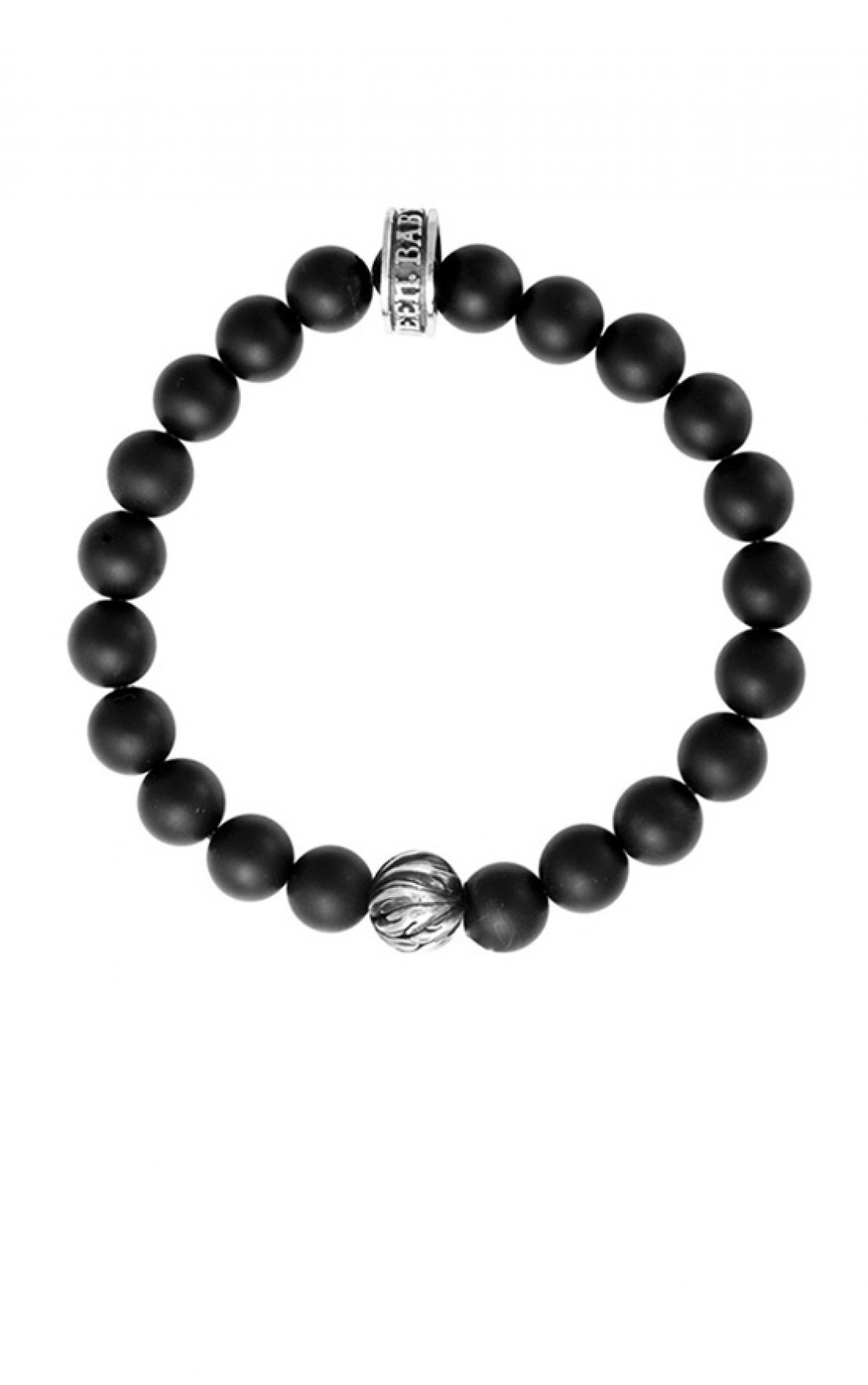 King Baby - Onyx Bracelet with Silver Feathered Bead (K40-5811)