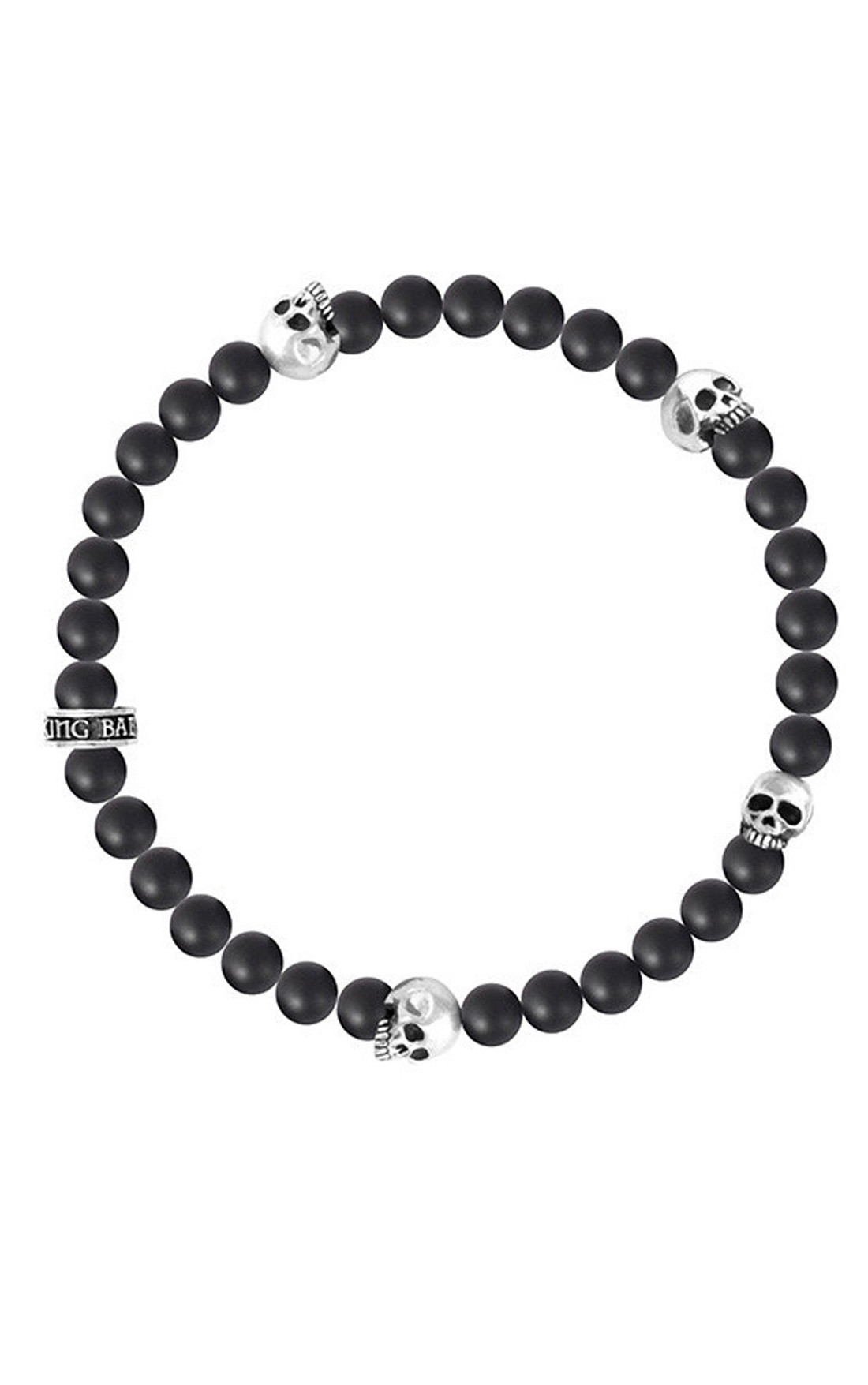 King Baby - 6mm Onyx Bead Bracelet with 4 Skulls (K40-5528-ONY)