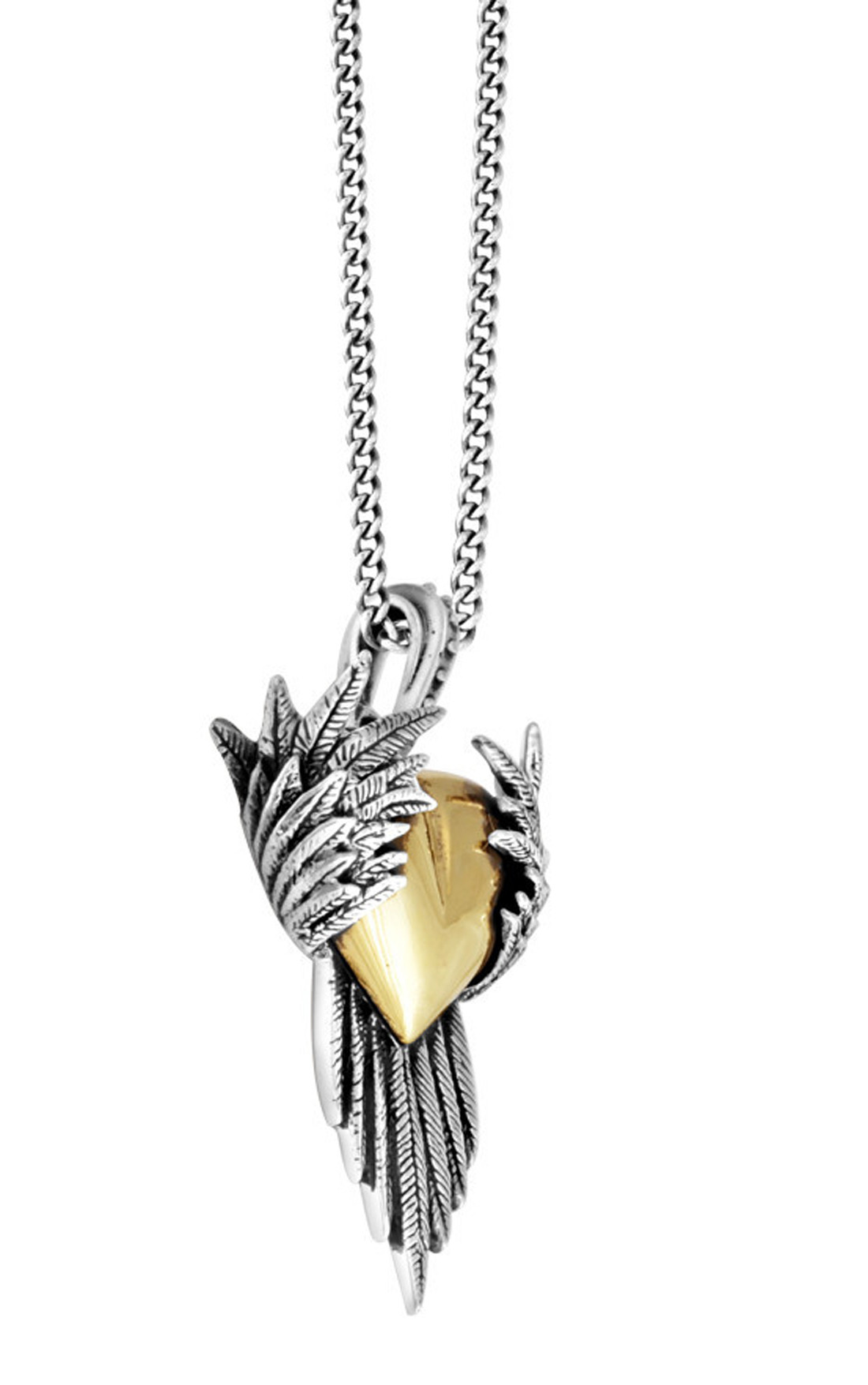 Queen Baby - Alloy Heart Pendant with Silver Raven Wings (K10-5516)