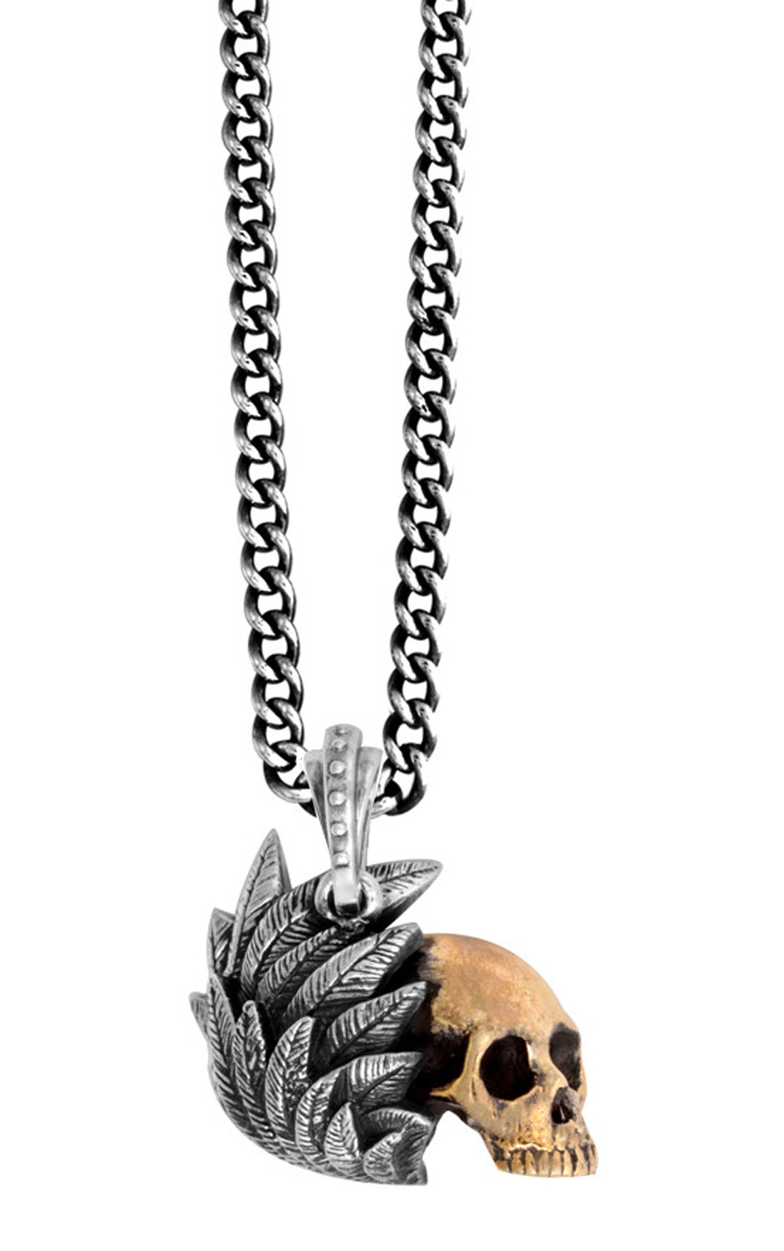 King Baby - Alloy Skull with Silver Raven Wing Pendant (K10-5514)