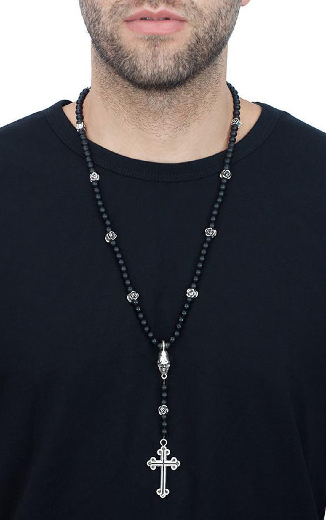 King Baby - Black Onyx Bead Rosary with Roses Skull and Traditional Cross (K56-5042)