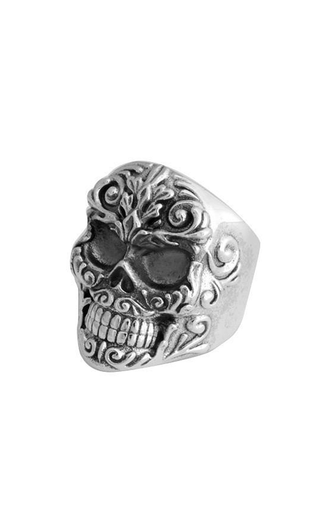 King Baby - Floral Scroll Relief Skull Ring (K20-5934)