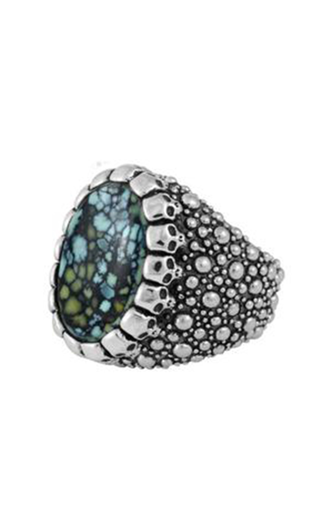 King Baby - Stingray Texture Ring with Top Hat Spotted Turquoise Cabochon in Skull Bezel (K20-5403)