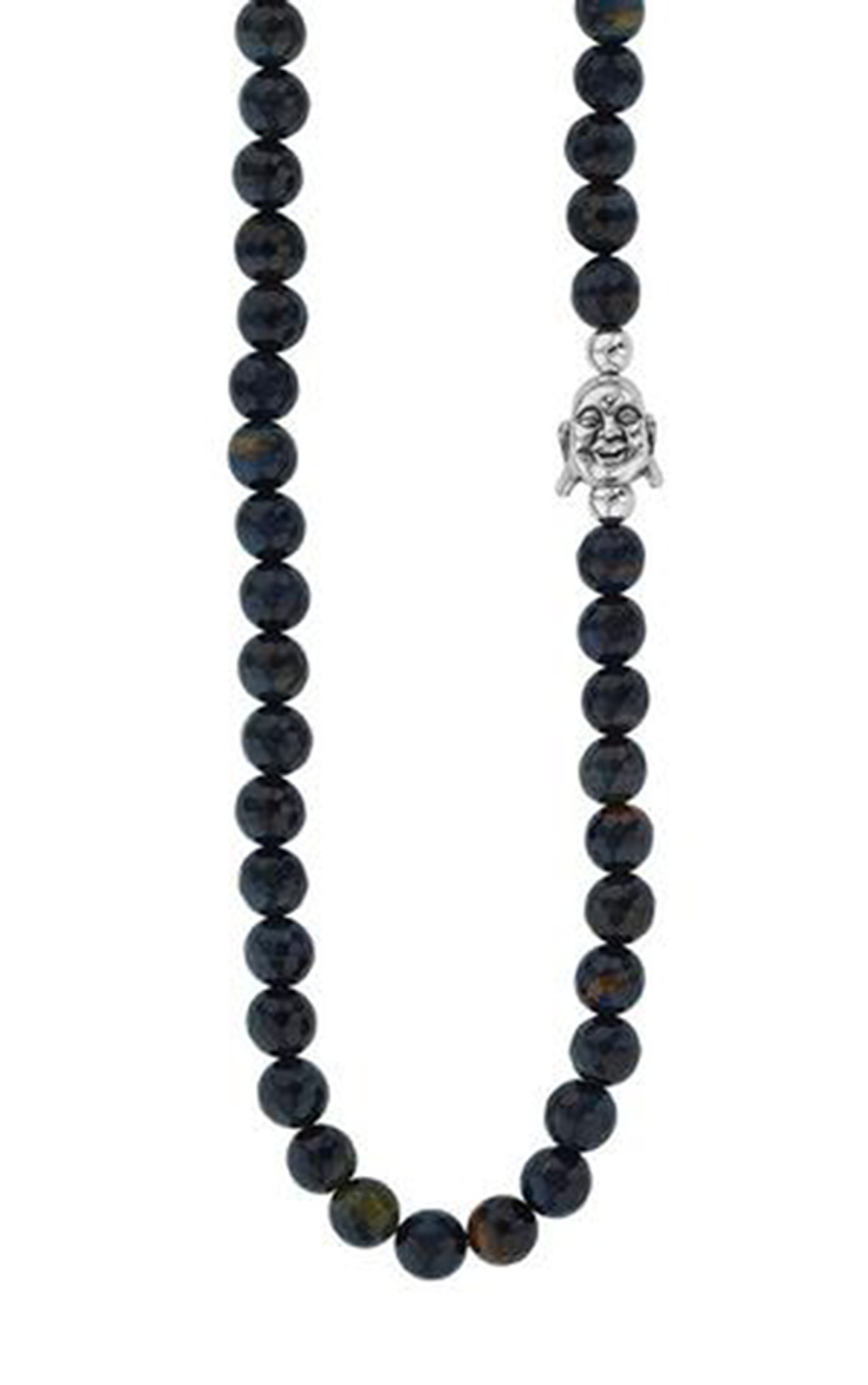 King Baby - Smiling Buddha and Faceted Blue Tiger Eye Bead Necklace (K51-5551)