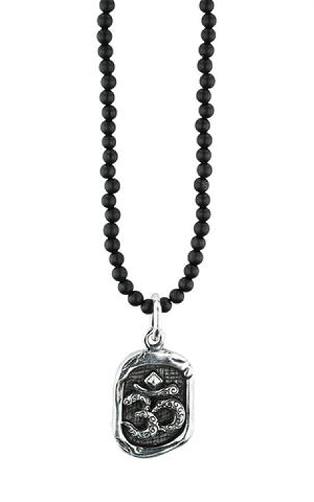 King Baby - Om Wax Seal On An Onyx Bead Necklace (K51-5557)