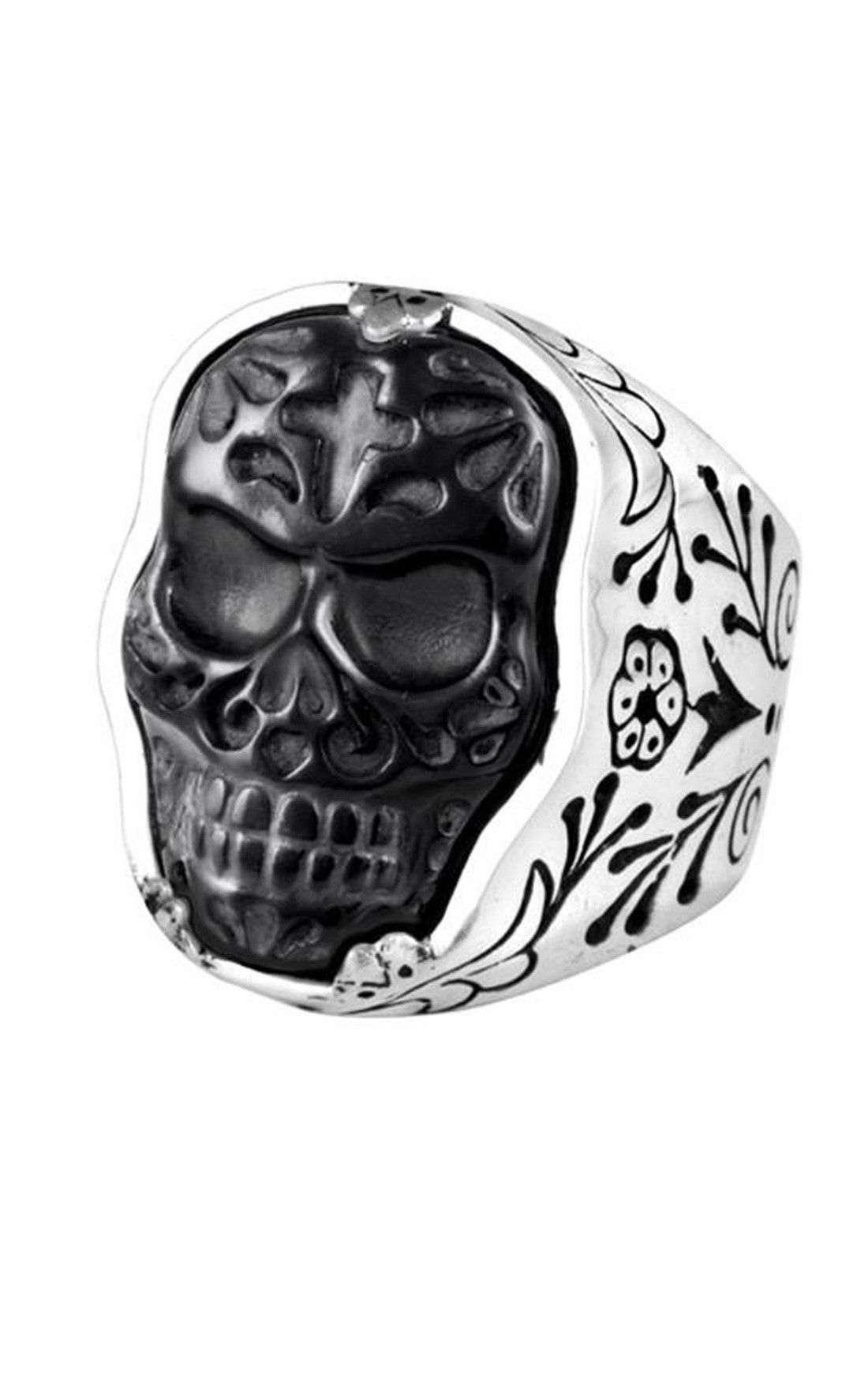 King Baby - Small Carved Jet Muerte Skull Ring (K20-5676)