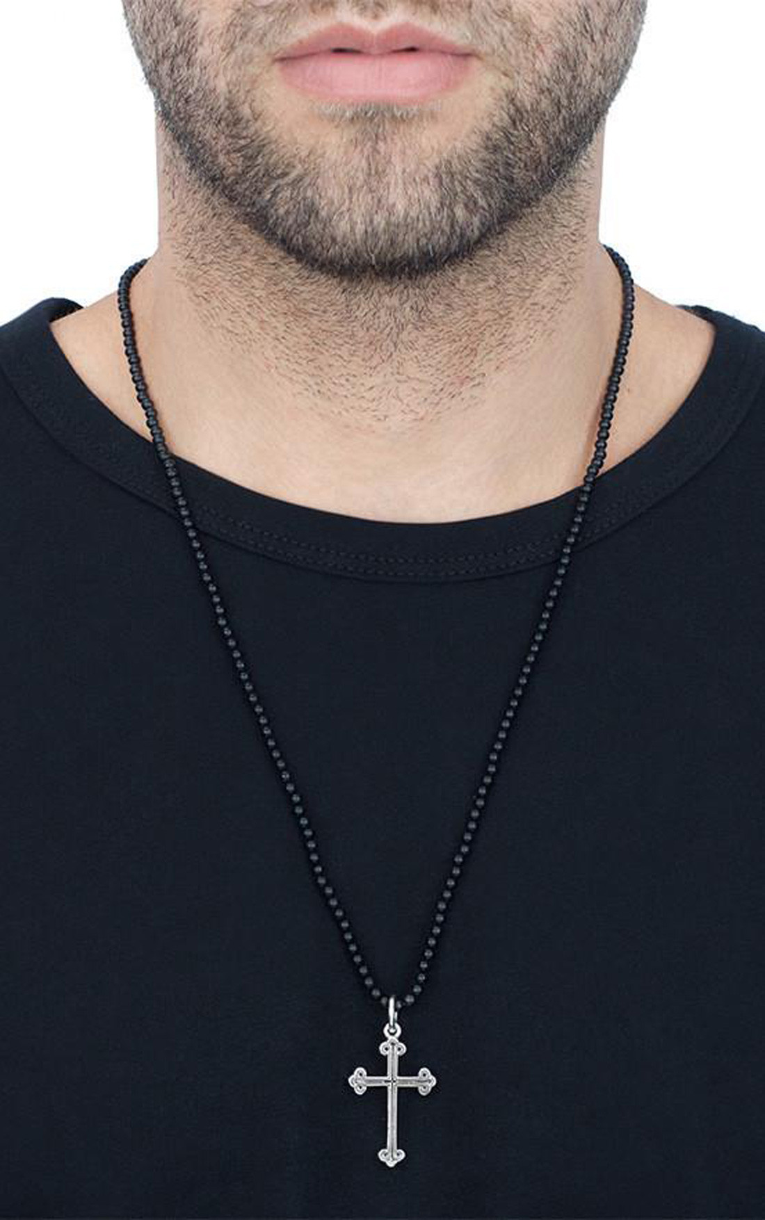 King Baby - Traditional Cross on Onyx Bead Necklace (K56-5091)