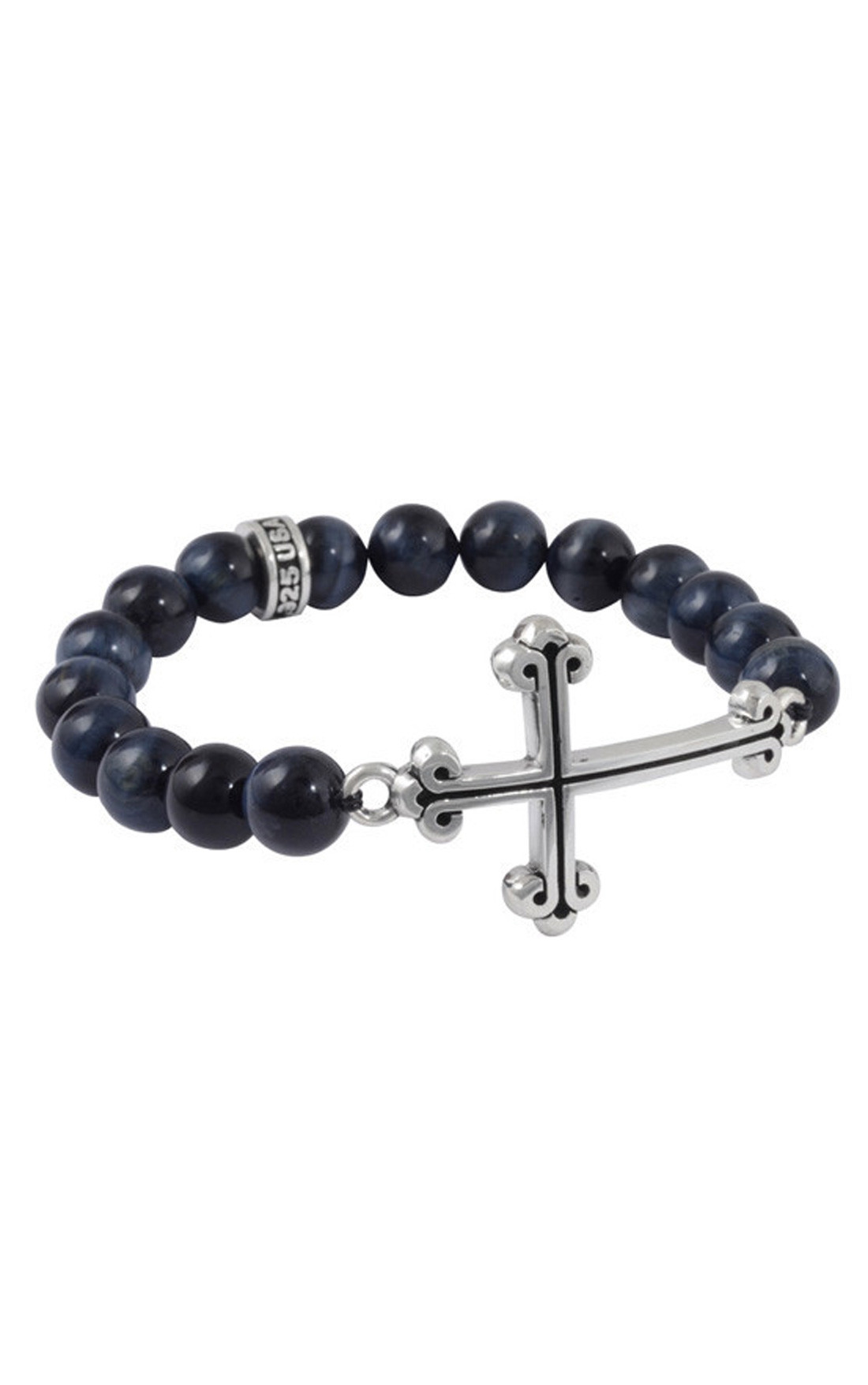 King Baby - Faceted Blue Tiger Eye Bracelet with Large Curved Traditional Cross (K40-5518-A)