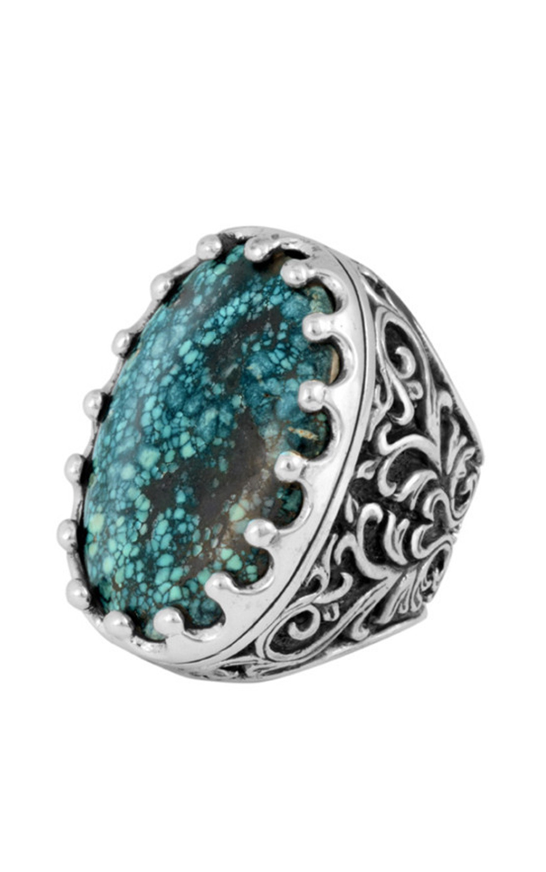 King Baby - Great Baroque Ring with Top Hat Spotted Turquoise (K20-5878)