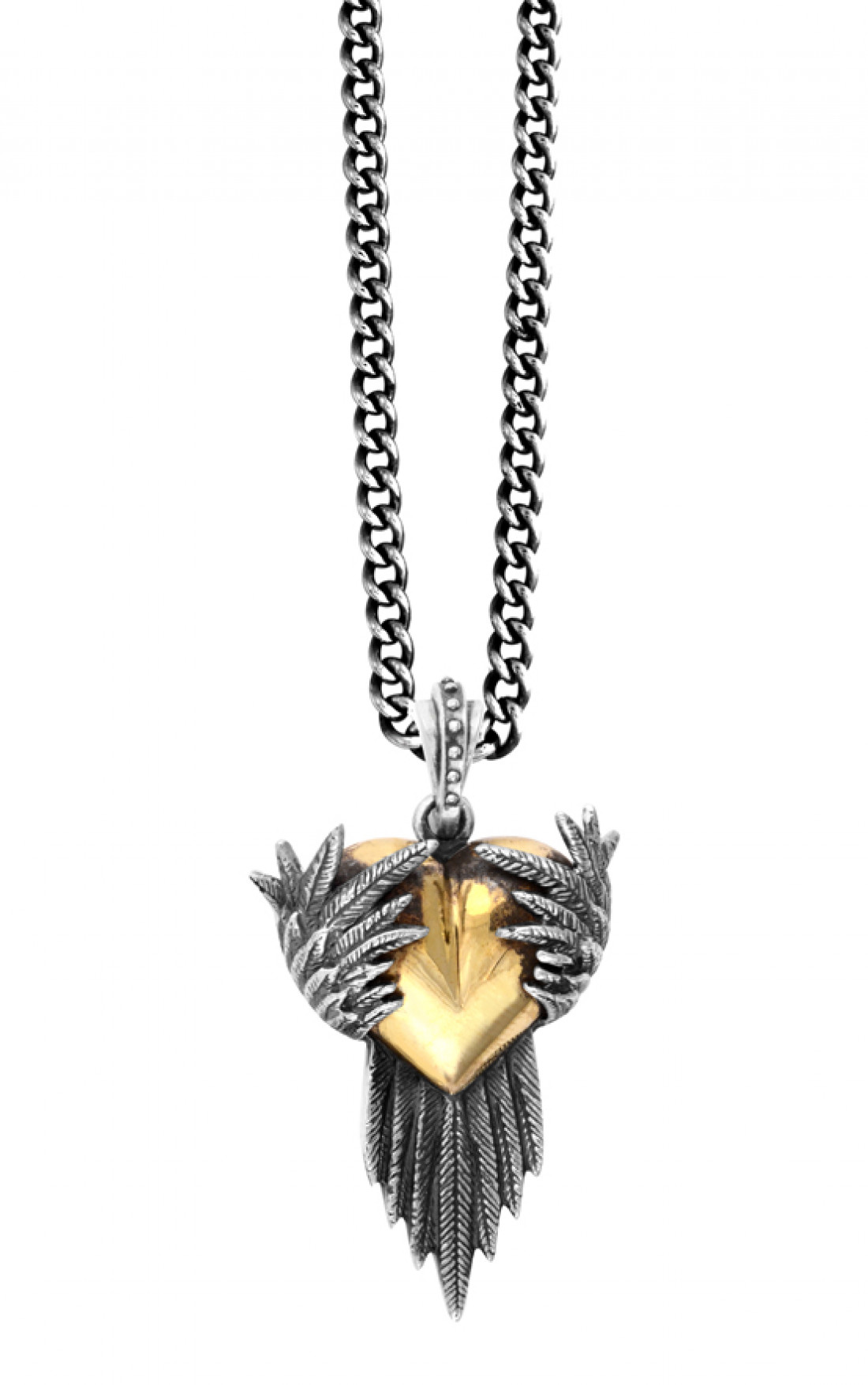 King Baby - Alloy Heart Pendant with Silver Raven Wings  (K10-5516)