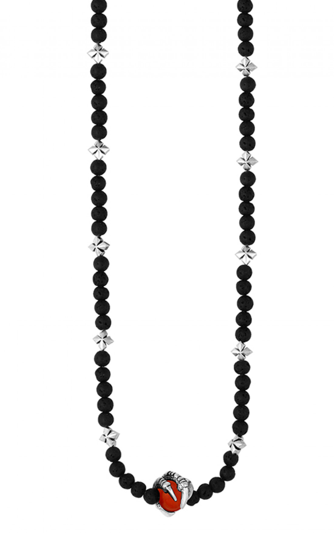 King Baby - Lava Bead Necklace with Raven Claw and MB Crosses (K51-5500)