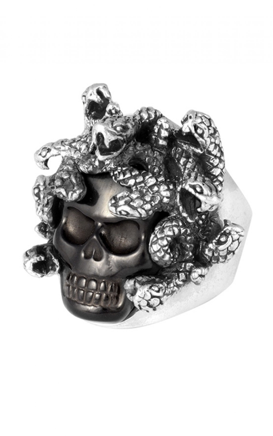 King Baby - Medusa Skull Ring with Carved Jet (K20-5700-JET)