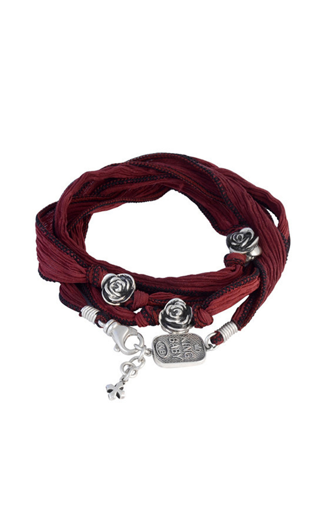 King Baby - Double Wrap Cherry Silk Bracelet with Roses (K42-5555)