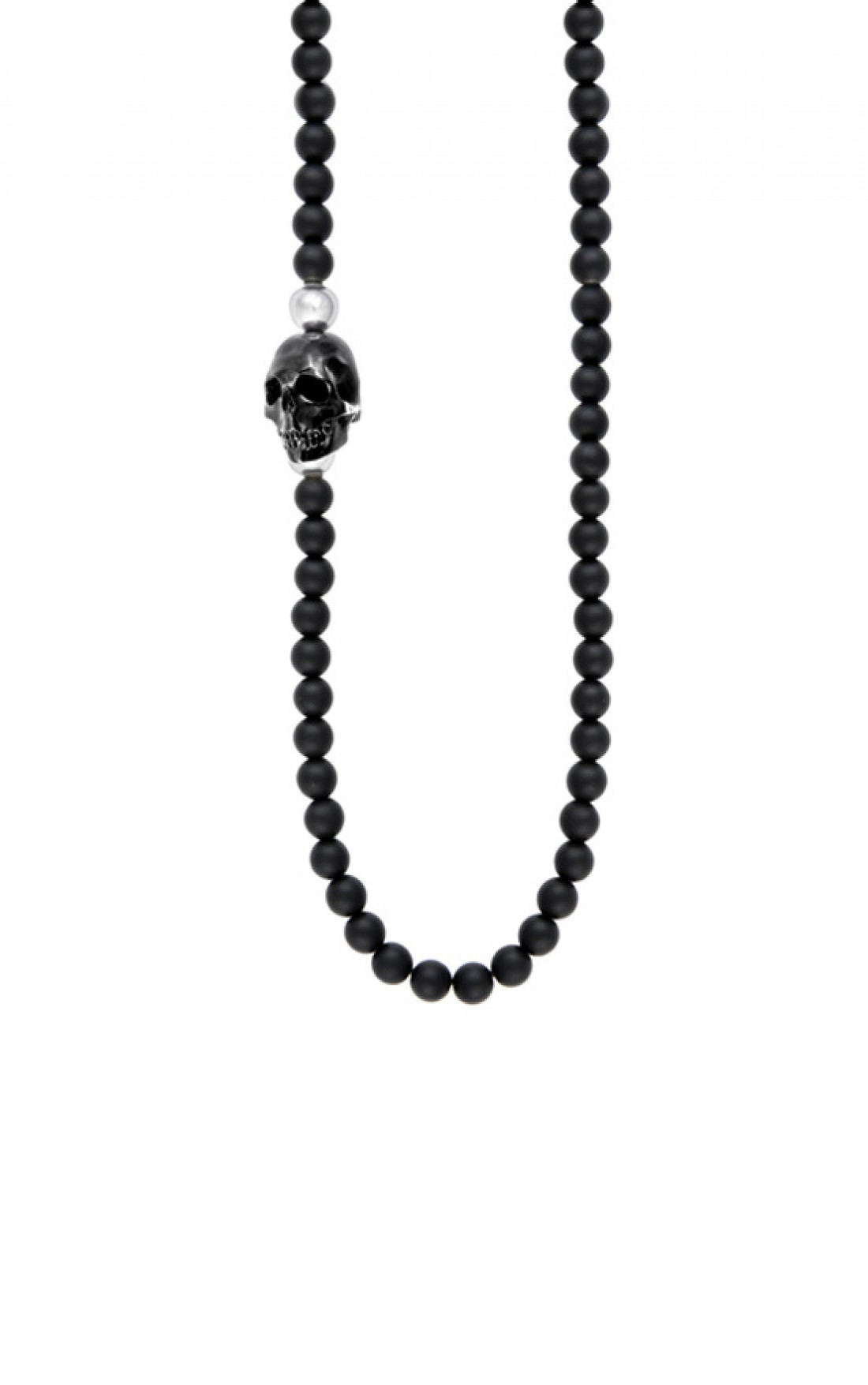 King Baby - Onyx Bead Necklace with Jet Skull (K56-5061)