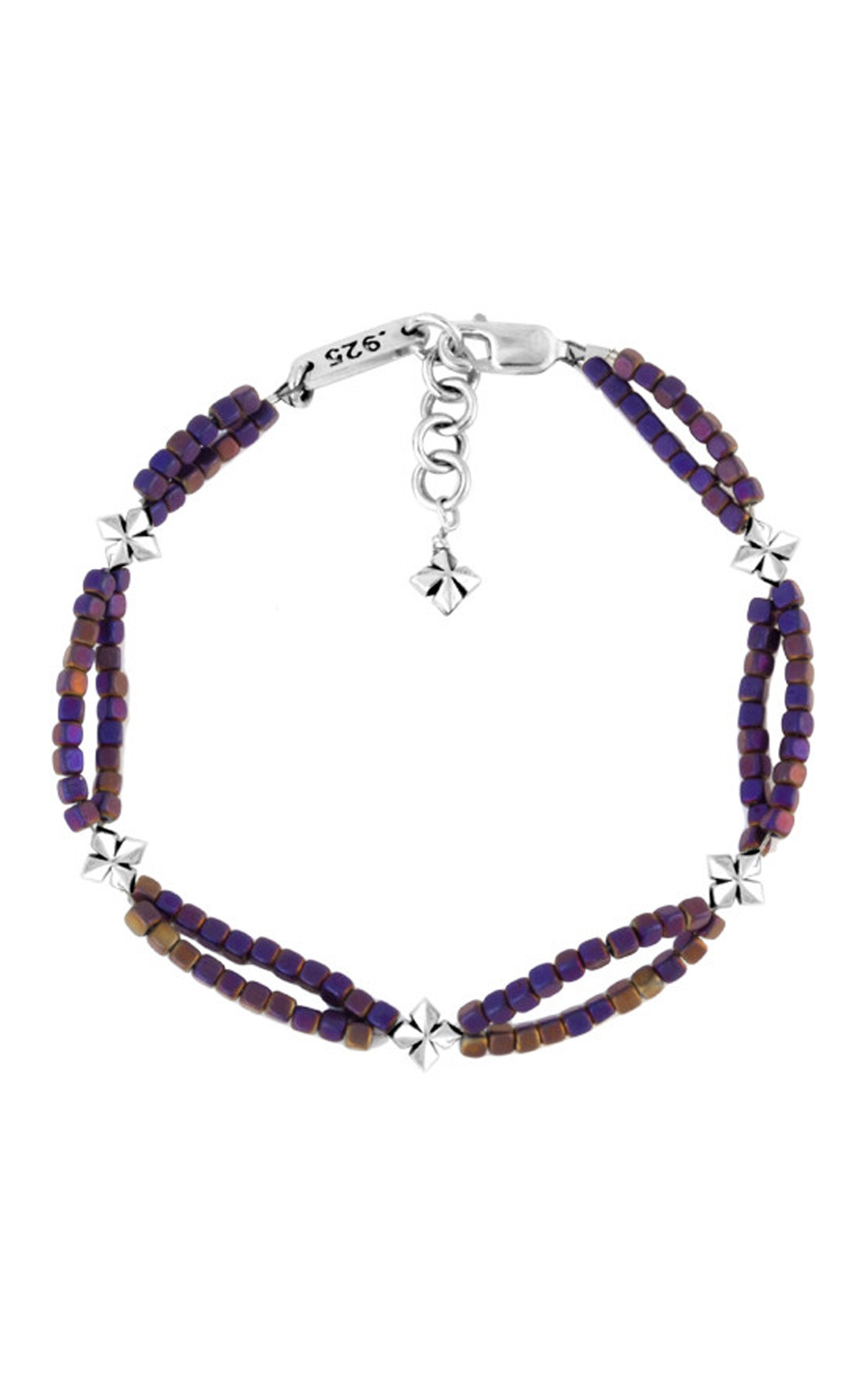 King Baby - Purple Hematite Double Strand Bracelet with MB Crosses (K42-8225C)