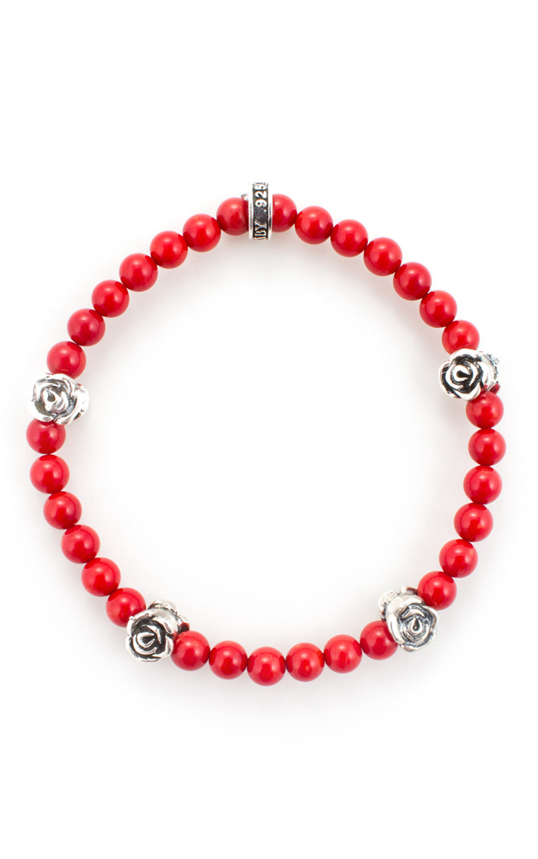 King Baby - Red Beaded Bracelet with 4 Roses (K40-5529-RCO)