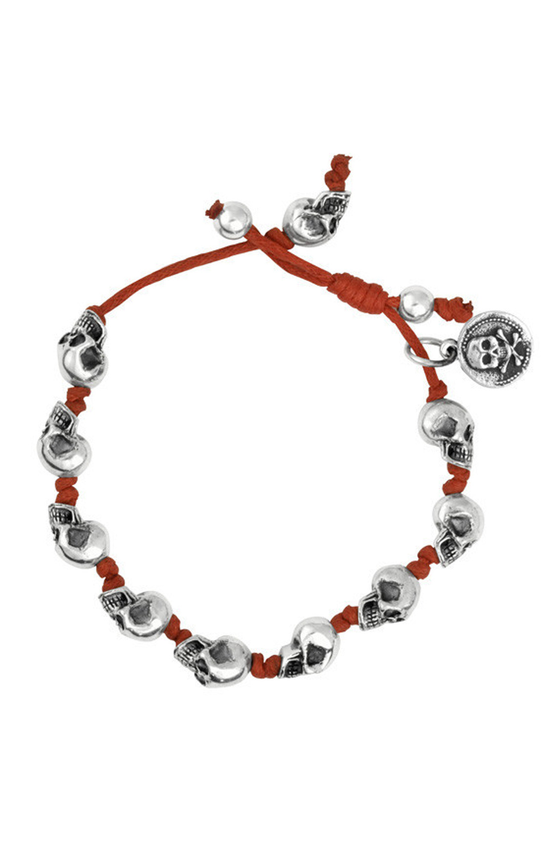 King Baby - Red Knotted Cord Bracelet with Small Skulls (K42-5426R)