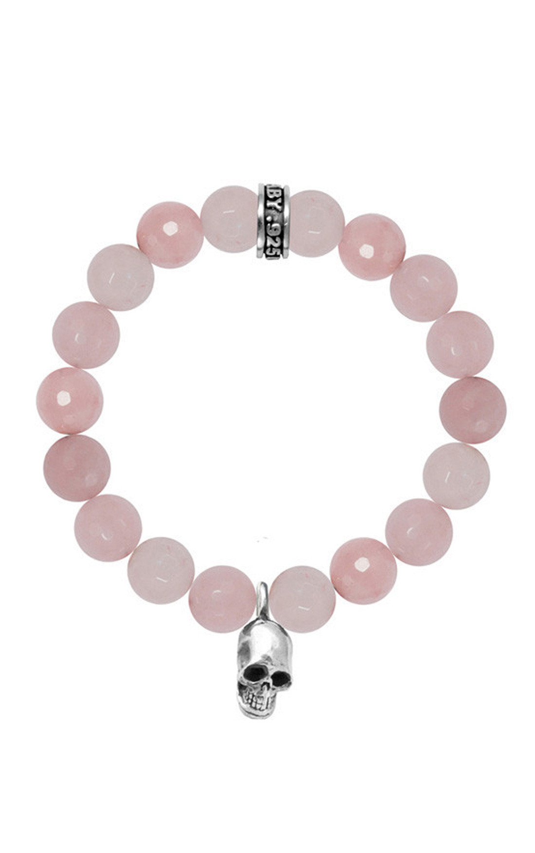King Baby - Rose Quartz Bead Bracelet with Skull (Q40-5616)
